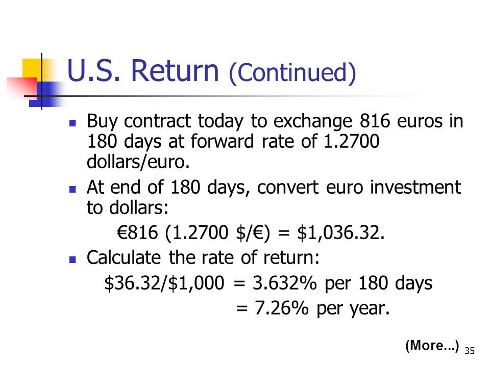 U.S. Return (Continued) Buy contract today to exchange 816 euros in 180 days at forward rate of 1.2700 dollars/euro.