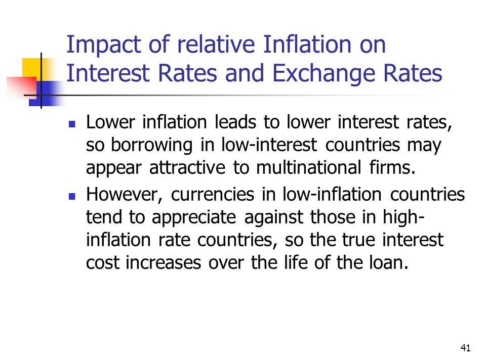 Impact of relative Inflation on Interest Rates and Exchange Rates