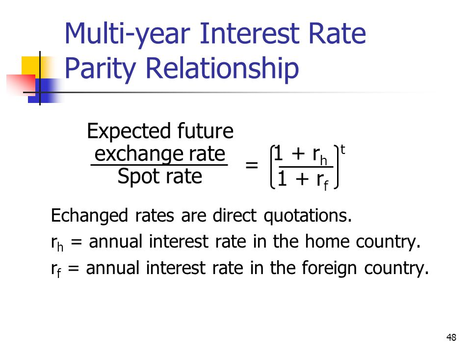 Multi-year Interest Rate Parity Relationship