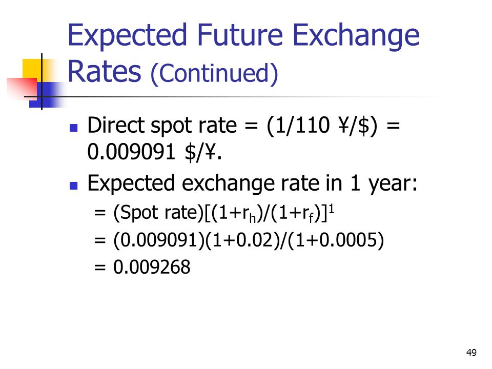 Expected Future Exchange Rates (Continued)