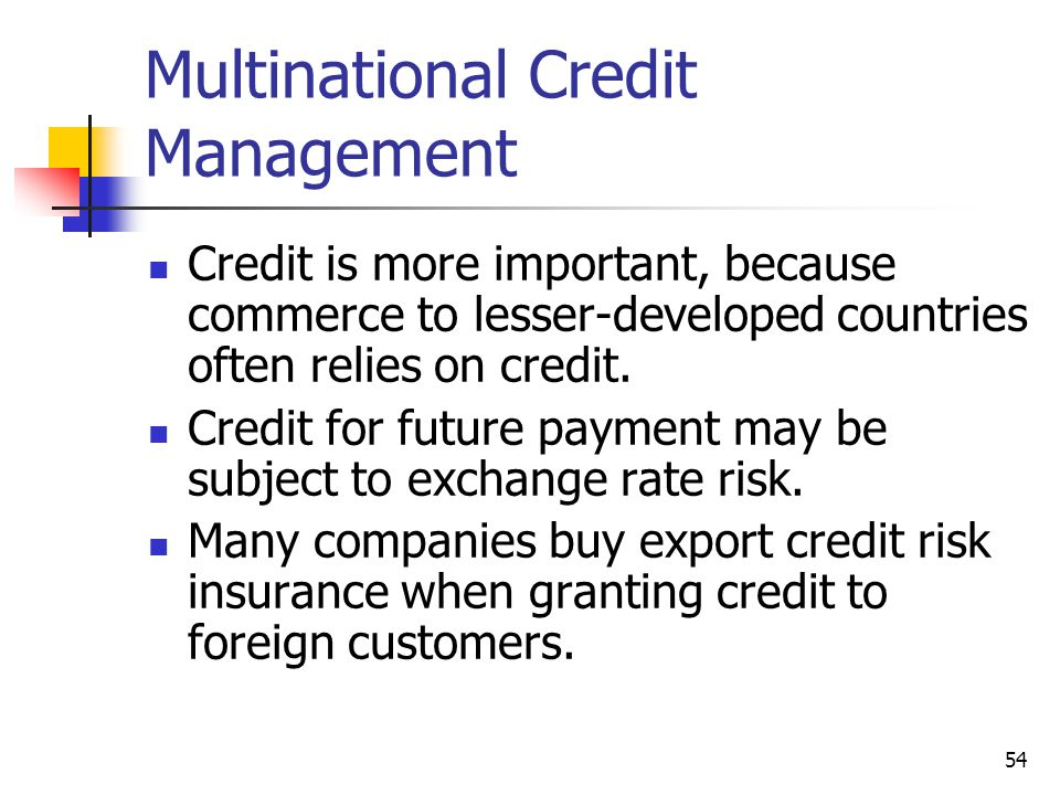 Multinational Credit Management