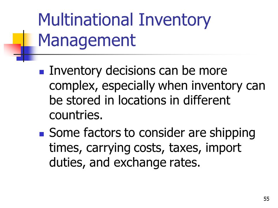 Multinational Inventory Management