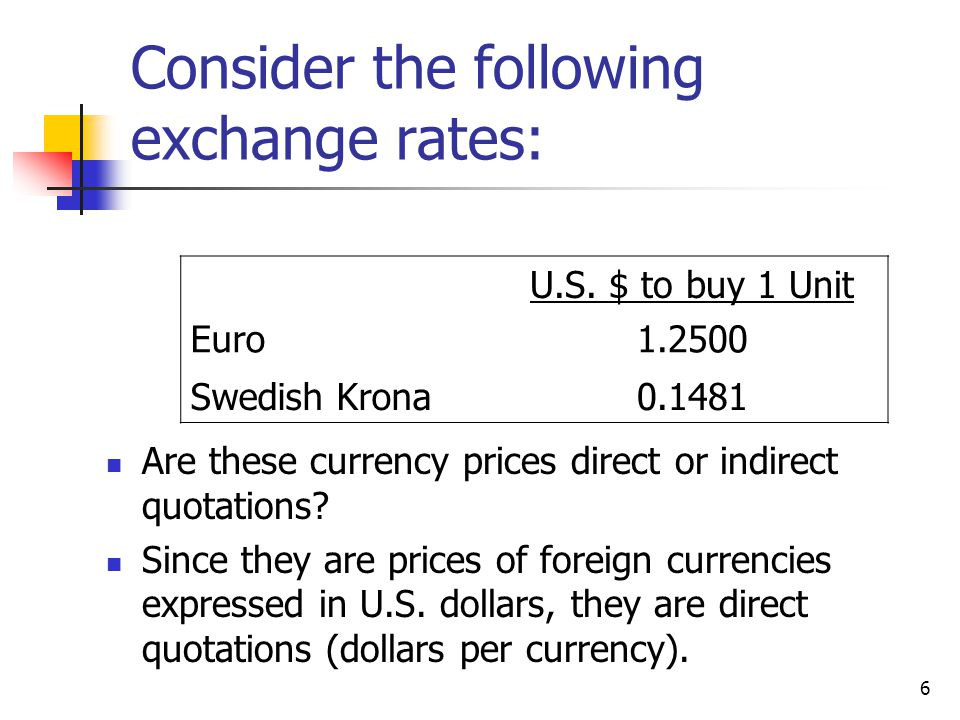 Consider the following exchange rates: