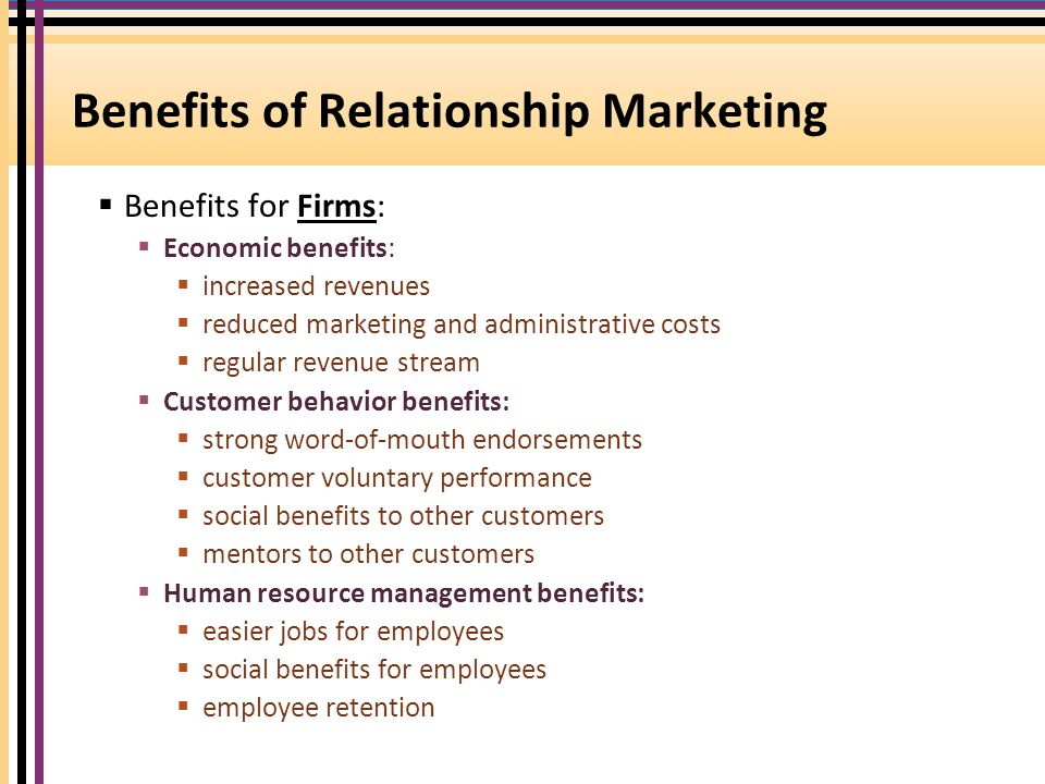advantages and disadvantages of customer relationship marketing