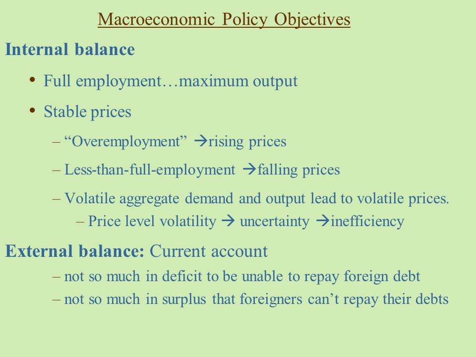 Macroeconomic Policy Objectives