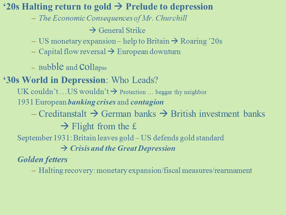'20s Halting return to gold  Prelude to depression  General Strike