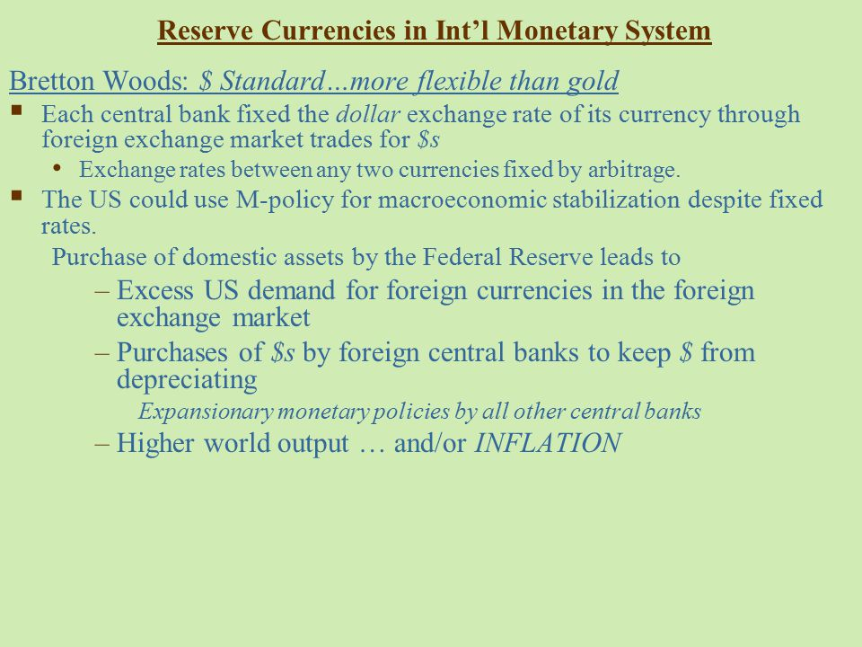 Reserve Currencies in Int'l Monetary System