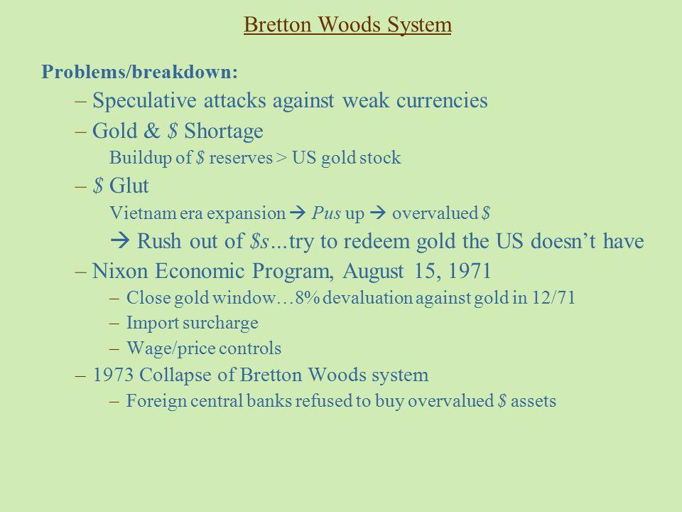 Speculative attacks against weak currencies Gold & $ Shortage $ Glut
