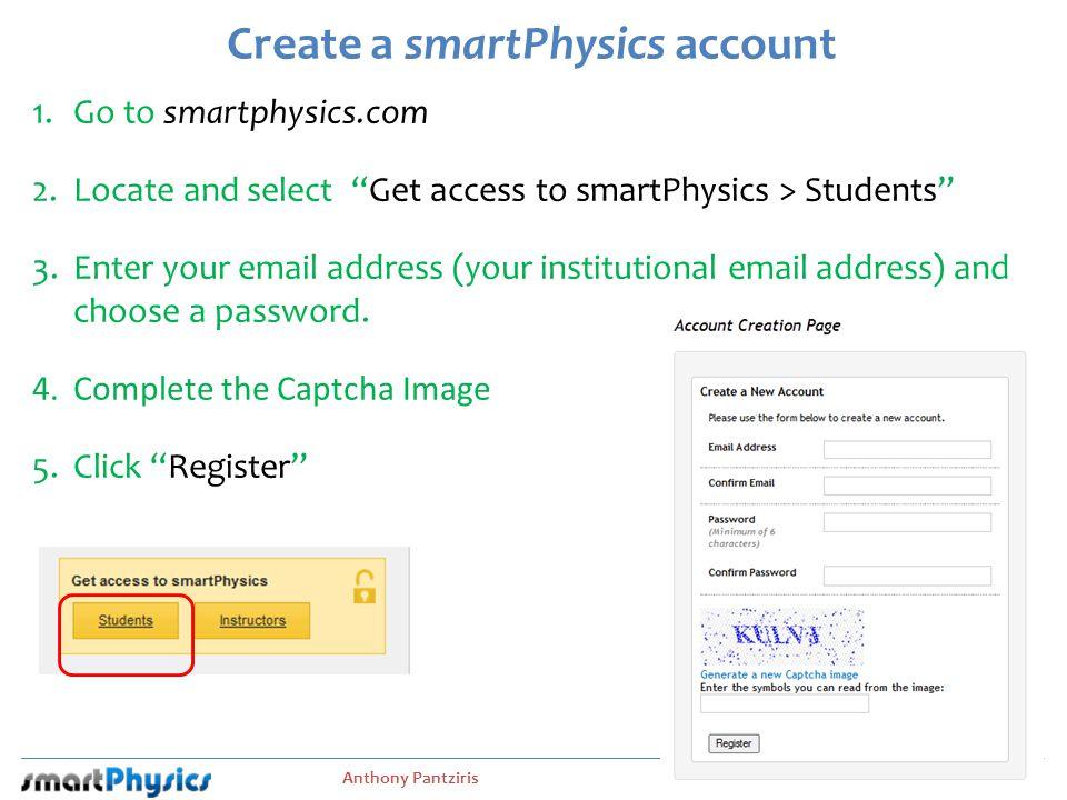 Create a smartPhysics account
