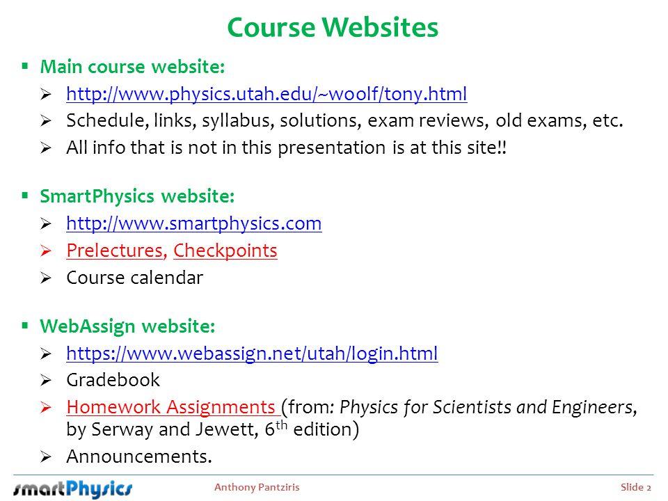 Course Websites Main course website: