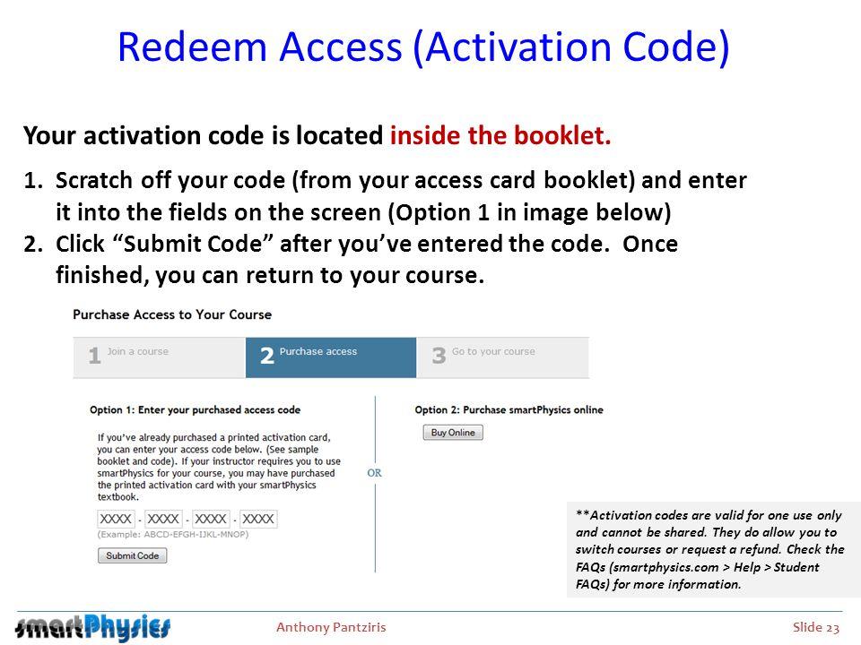 Redeem Access (Activation Code)