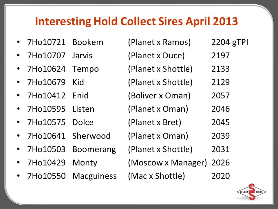 Interesting Hold Collect Sires April 2013