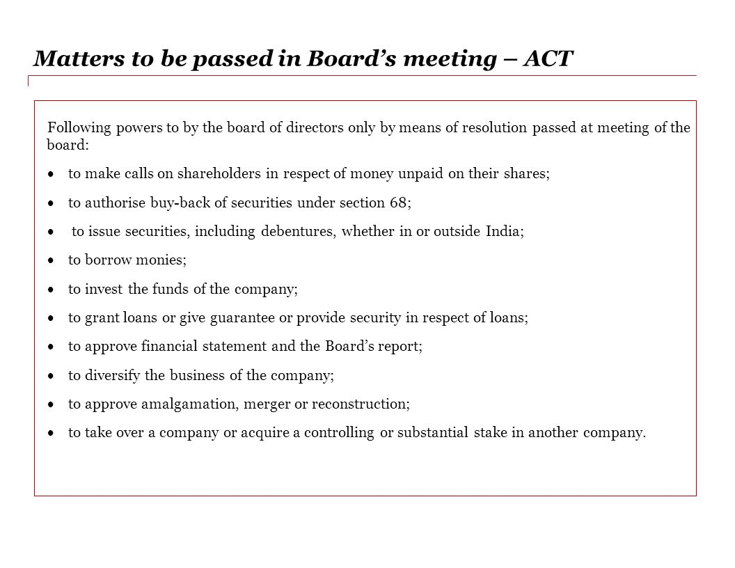 Matters to be passed in Board's meeting – ACT