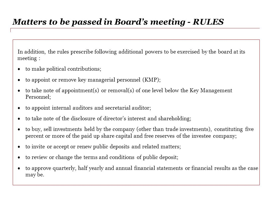 Matters to be passed in Board's meeting - RULES
