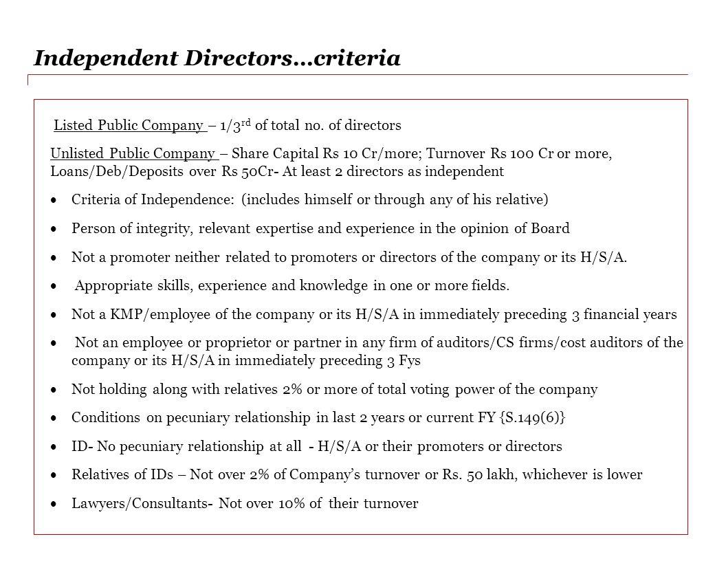 Independent Directors…criteria