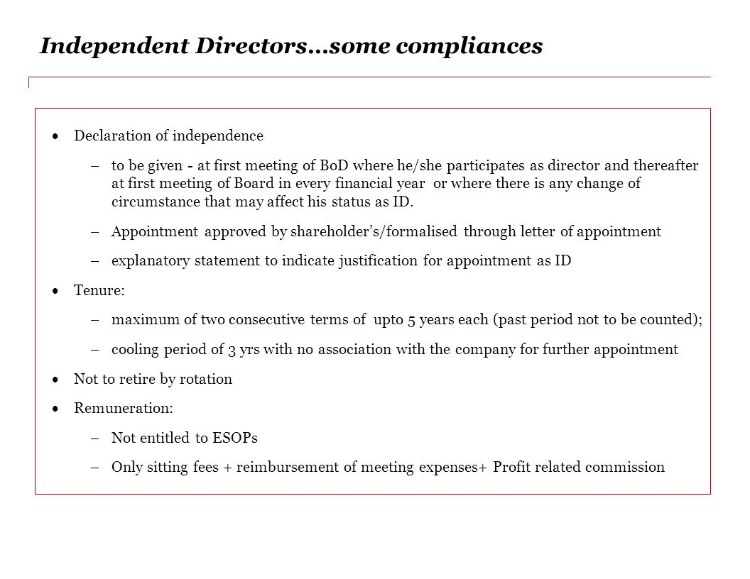 Independent Directors…some compliances