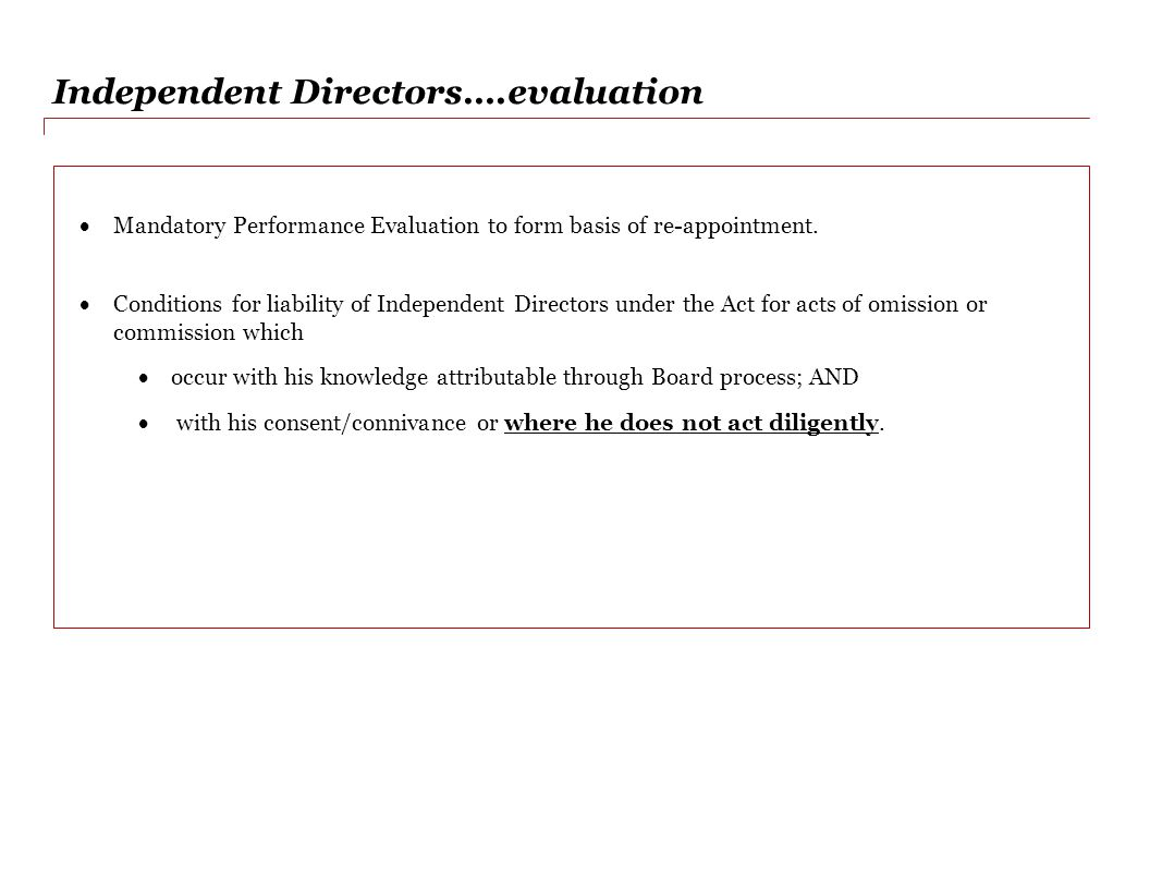 Independent Directors….evaluation