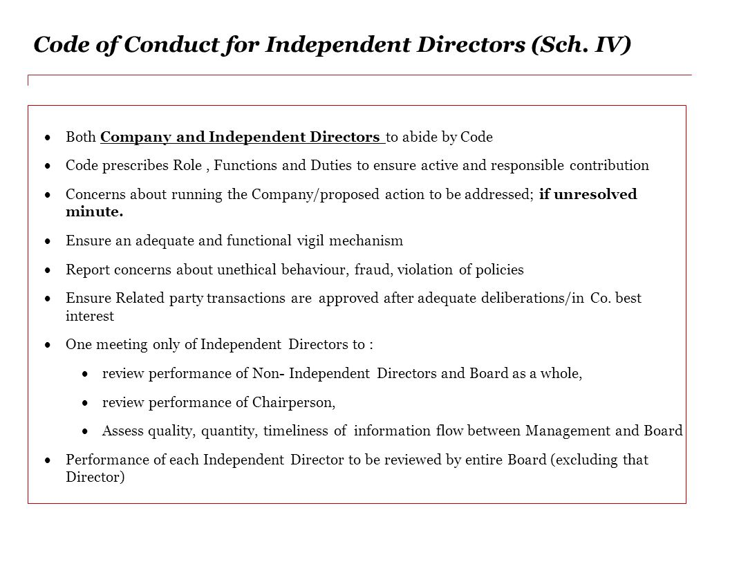 Code of Conduct for Independent Directors (Sch. IV)