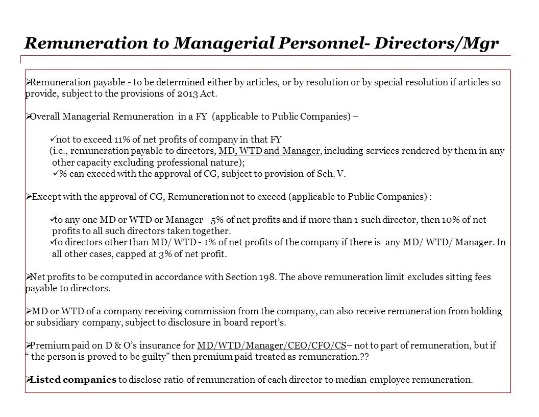 Remuneration to Managerial Personnel- Directors/Mgr