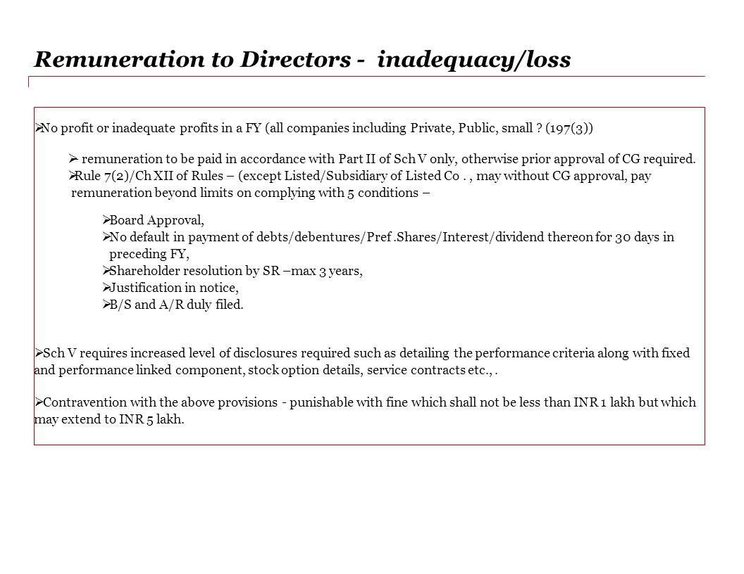 Remuneration to Directors - inadequacy/loss