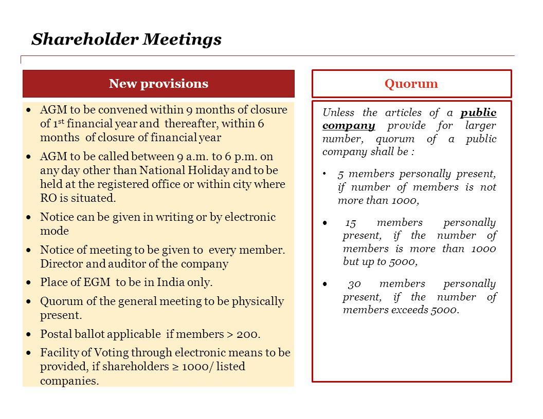 Shareholder Meetings New provisions Quorum