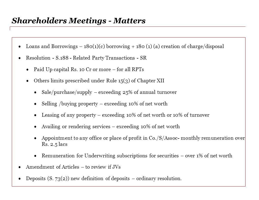 Shareholders Meetings - Matters