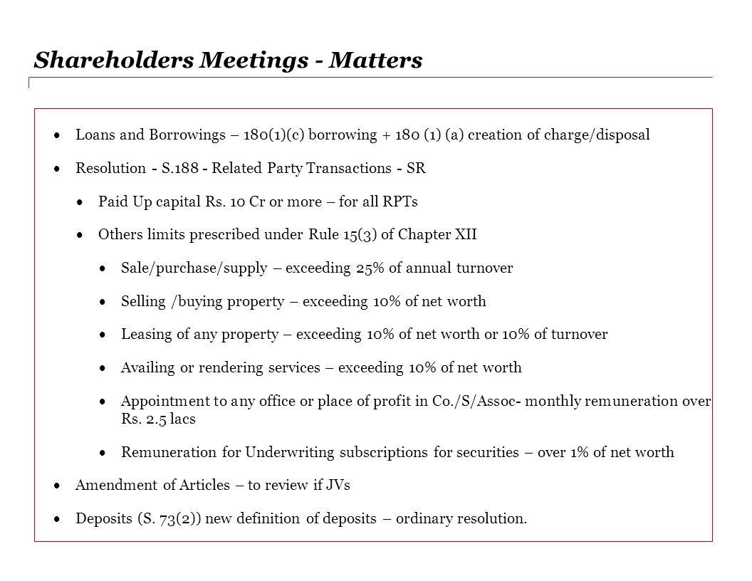 Shareholders Meetings - Matters