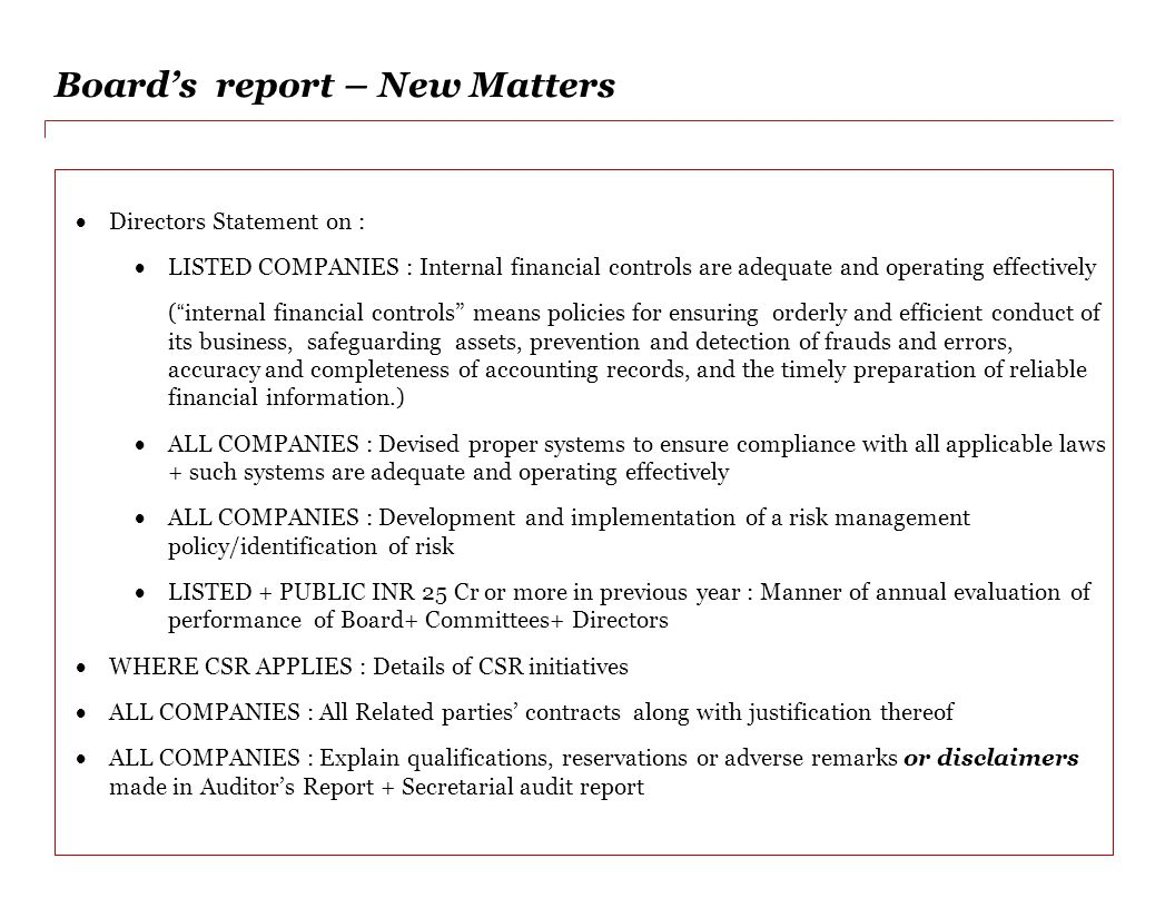 Board's report – New Matters
