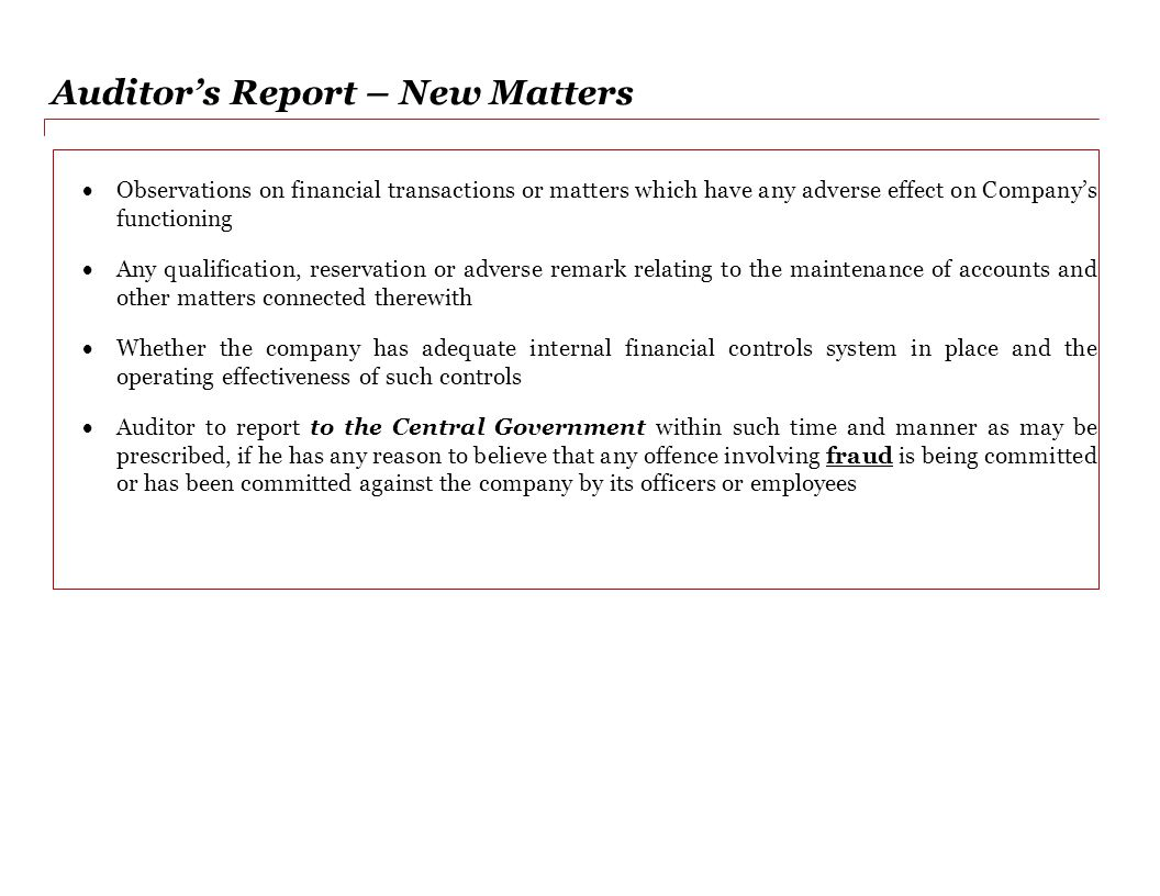 Auditor's Report – New Matters