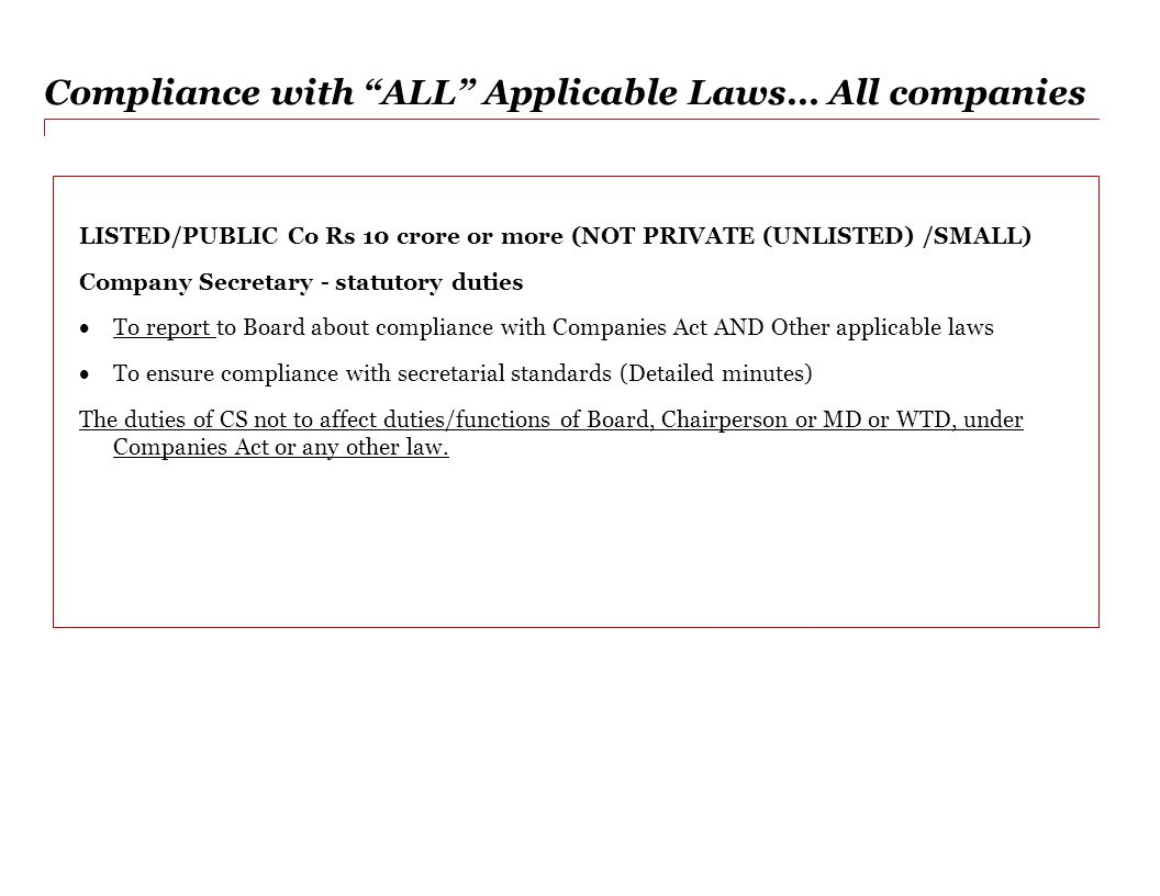 Compliance with ALL Applicable Laws… All companies