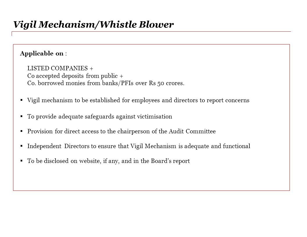 Vigil Mechanism/Whistle Blower