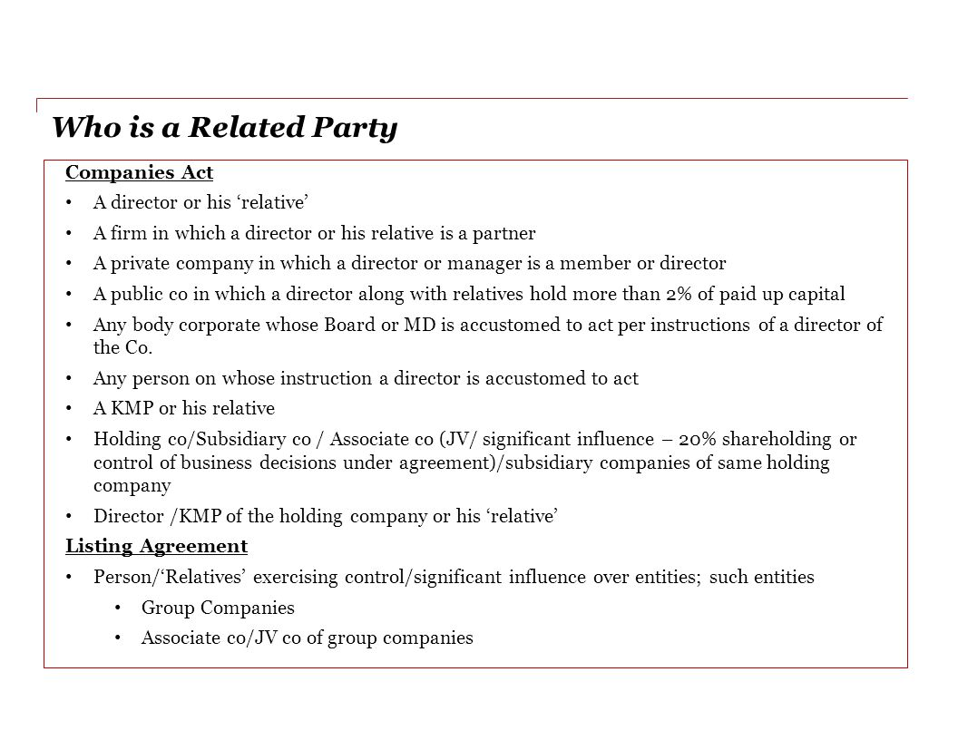 Who is a Related Party Companies Act A director or his 'relative'