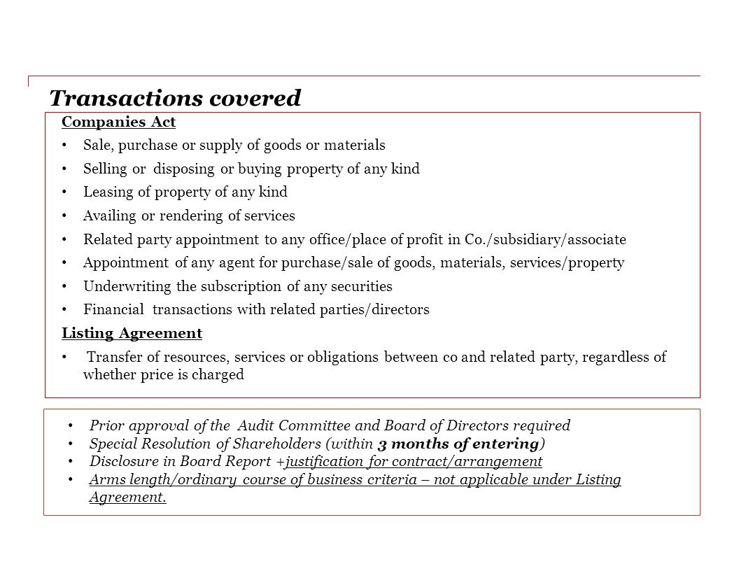 Transactions covered Companies Act