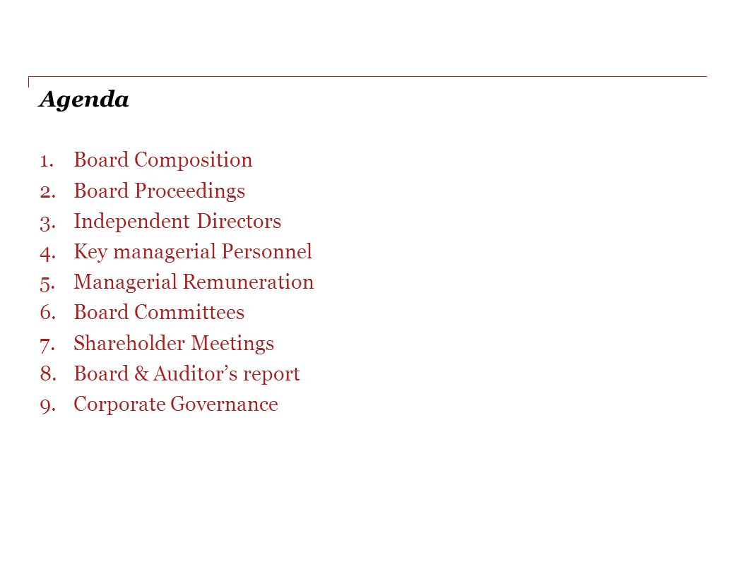 Agenda Board Composition Board Proceedings Independent Directors