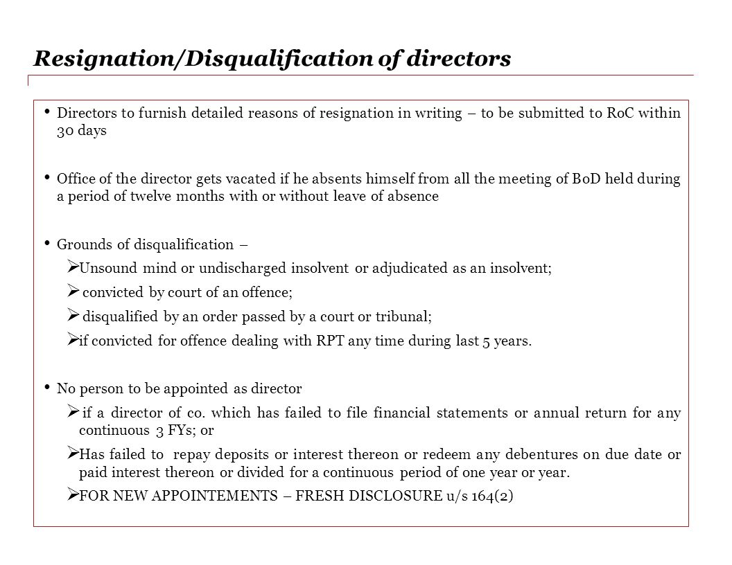 Resignation/Disqualification of directors