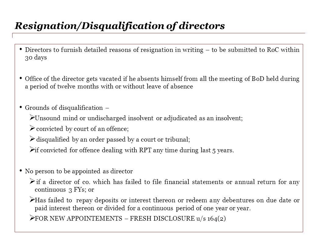 Resignation/Disqualification of directors