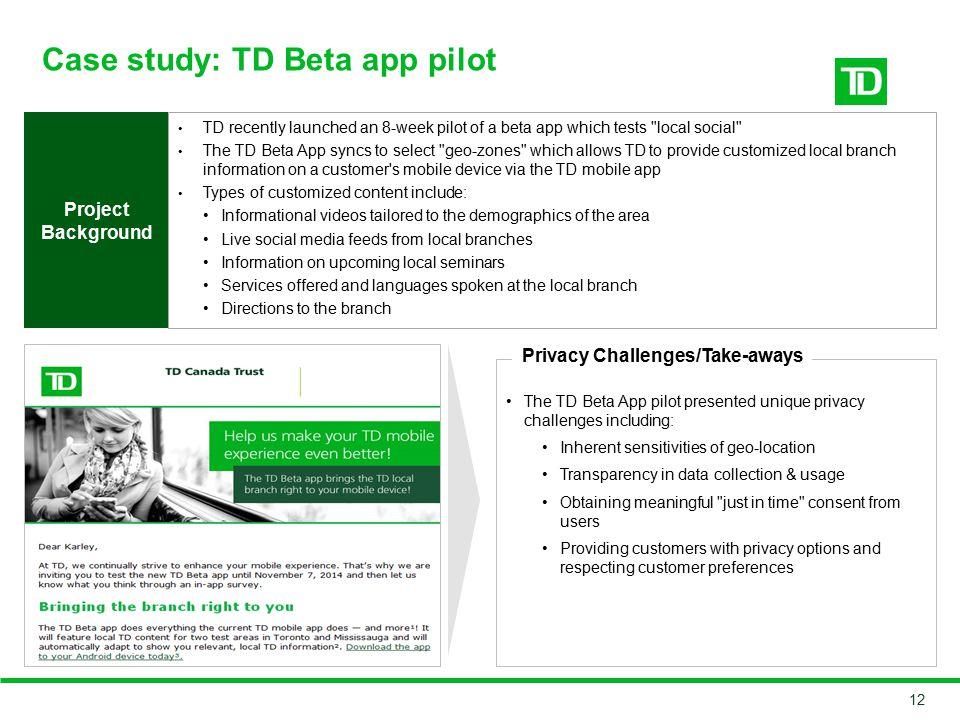 Case study: TD Beta app pilot