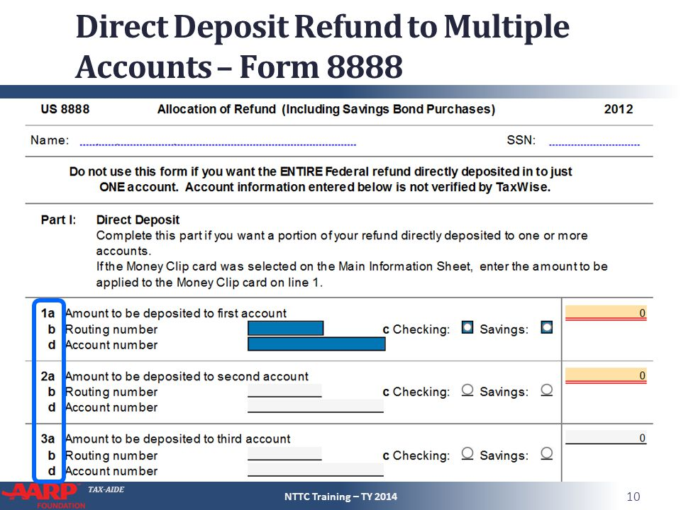Direct Deposit Refund to Multiple Accounts – Form 8888
