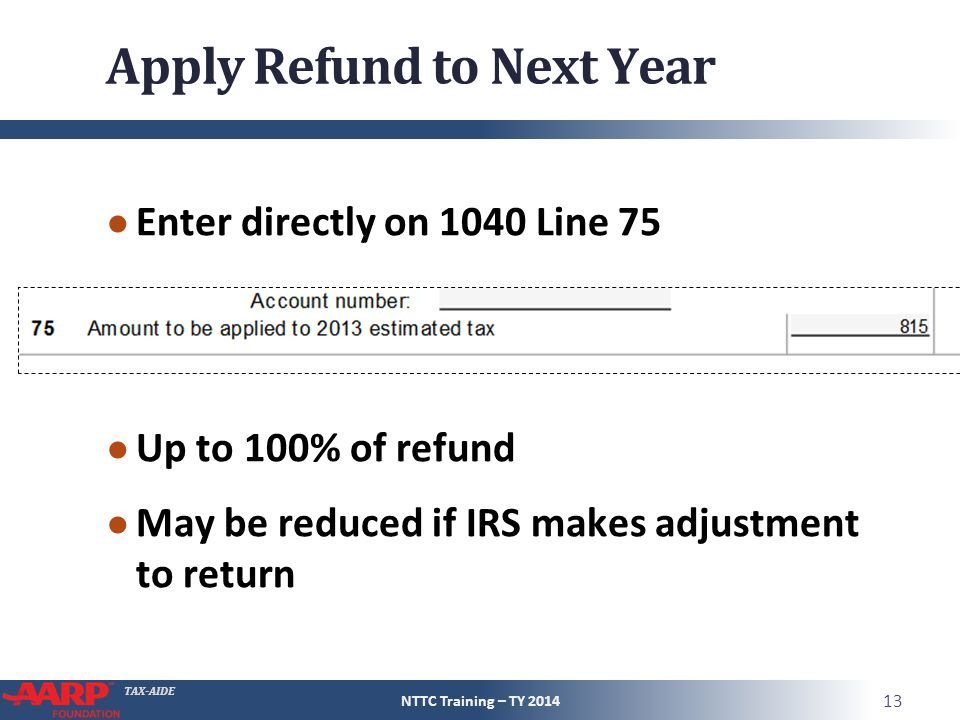 Apply Refund to Next Year