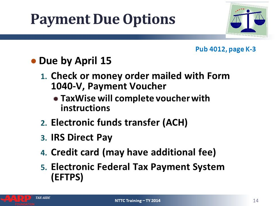 Payment Due Options Due by April 15