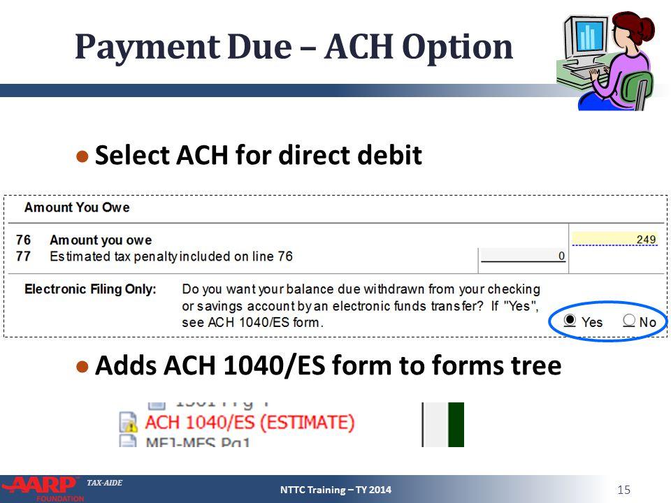 Payment Due – ACH Option