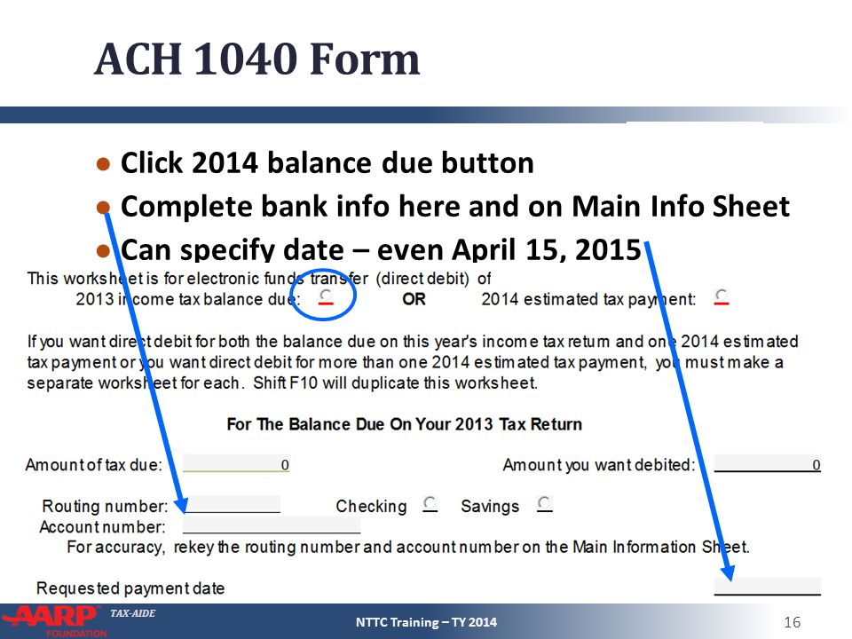 ACH 1040 Form Click 2014 balance due button