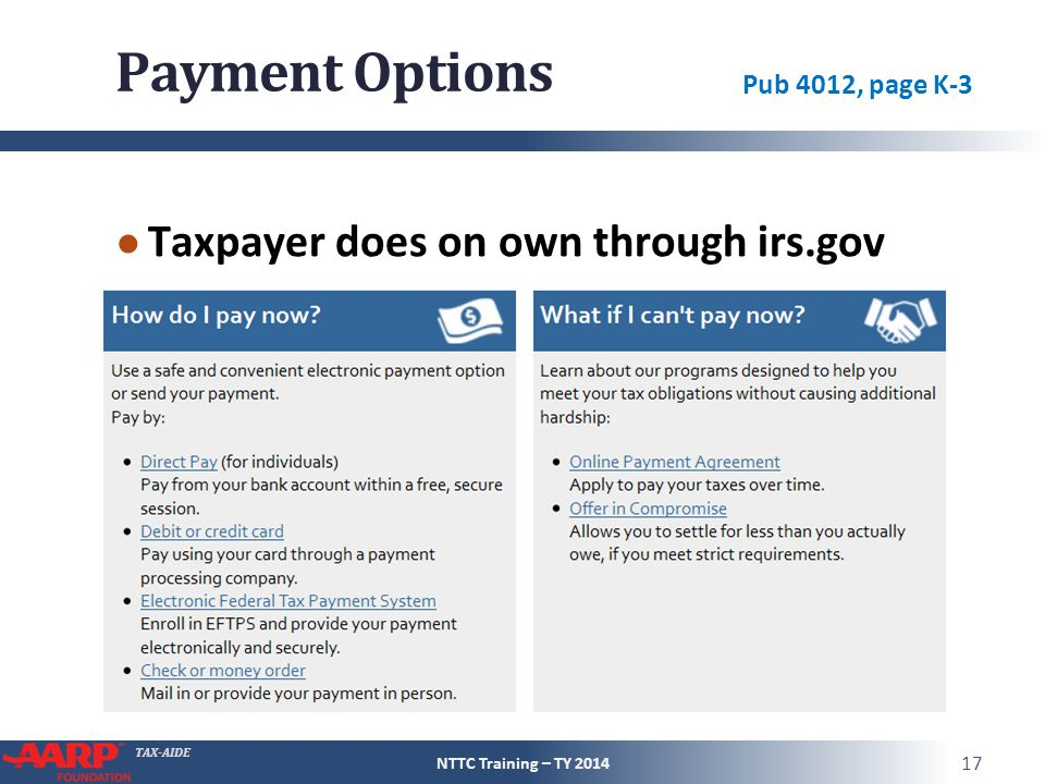 Payment Options Taxpayer does on own through irs.gov