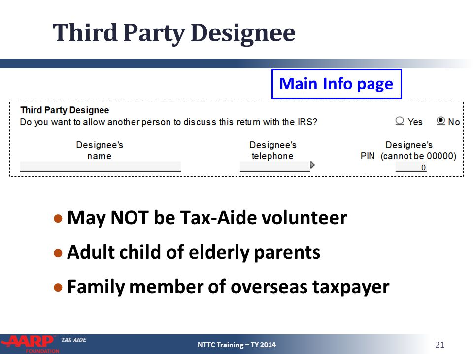 Third Party Designee May NOT be Tax-Aide volunteer
