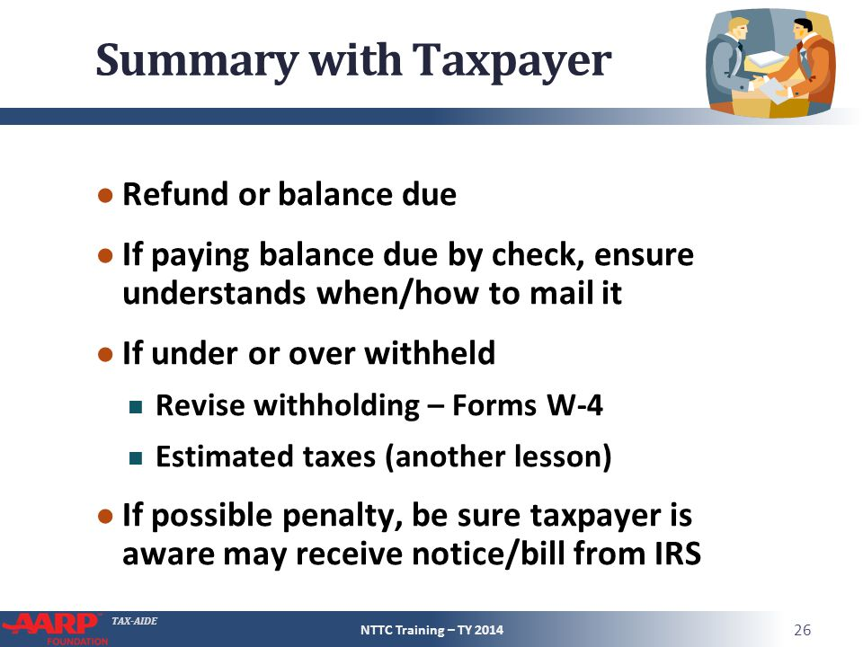 Summary with Taxpayer Refund or balance due