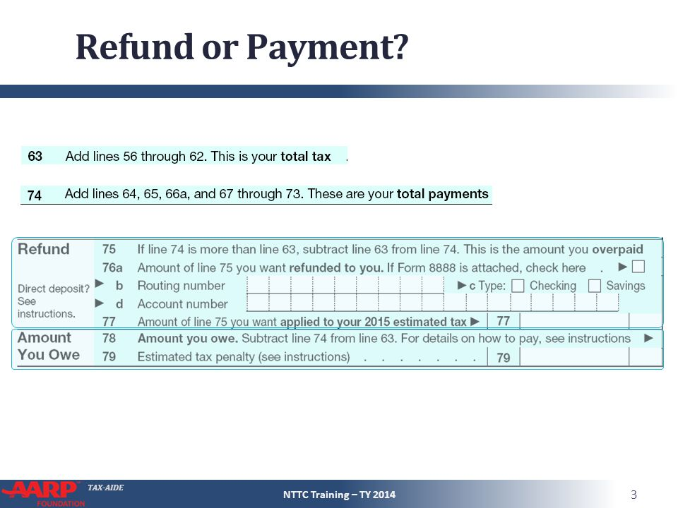 Refund or Payment NTTC Training – TY 2014