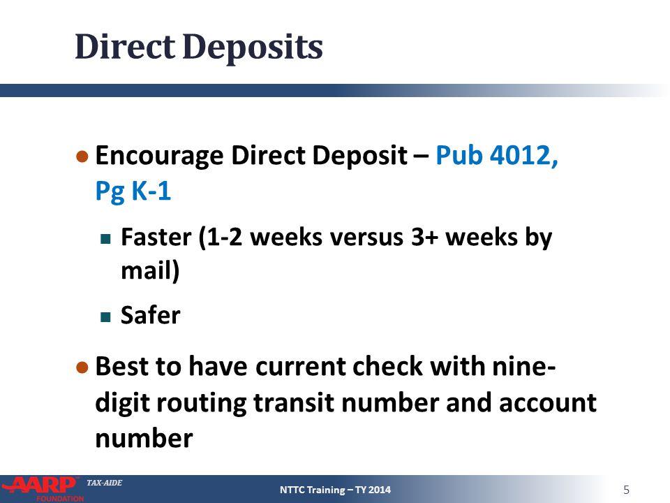 Direct Deposits Encourage Direct Deposit – Pub 4012, Pg K-1