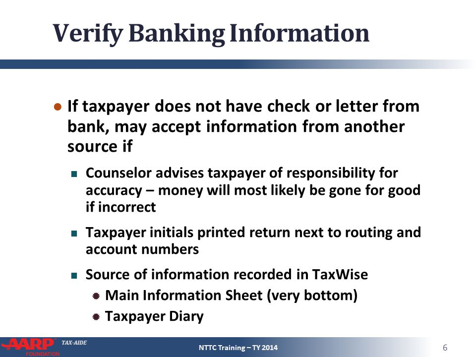 Verify Banking Information
