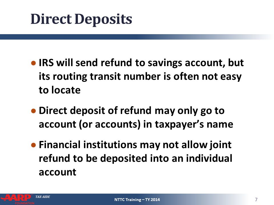Direct Deposits IRS will send refund to savings account, but its routing transit number is often not easy to locate.