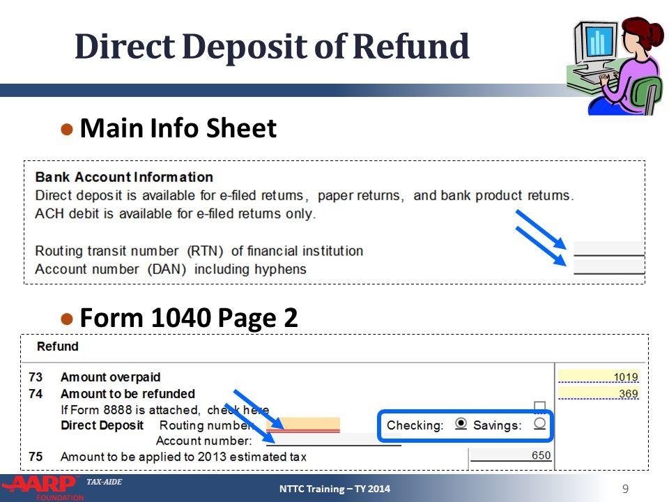 Direct Deposit of Refund